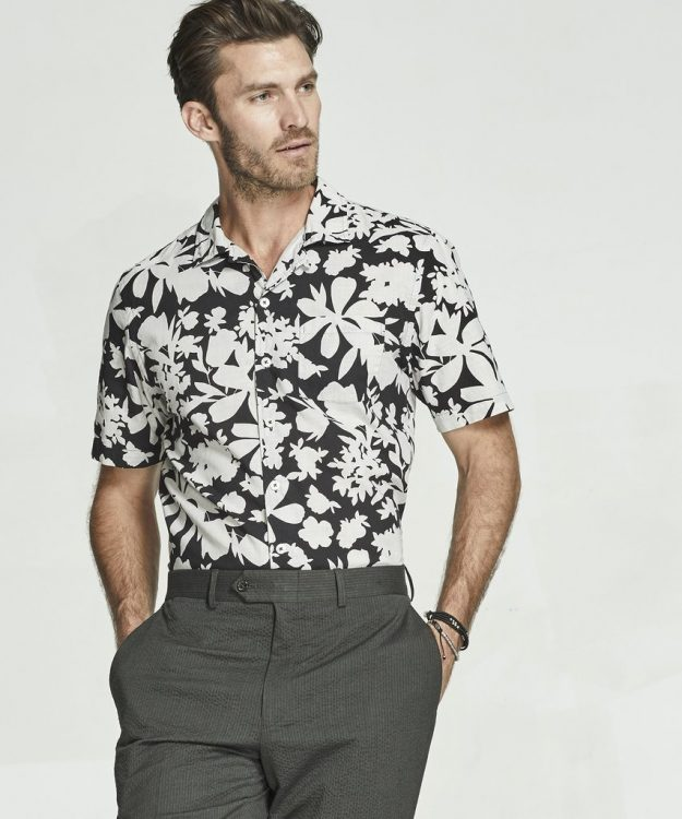 Floral printed Cuban collar by Todd Snyder