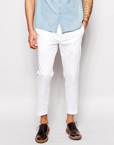 white cropped pants with dark brown shoes
