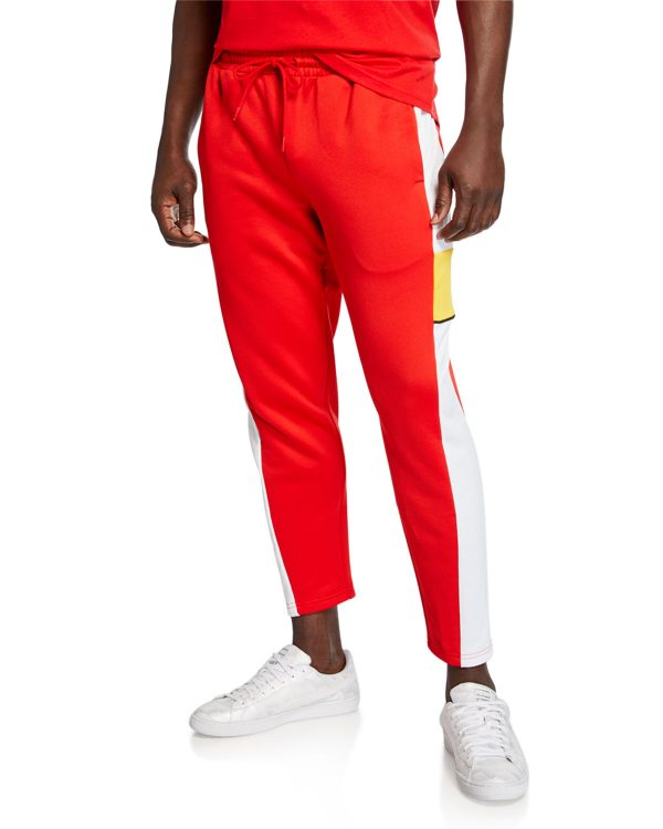 red orange cropped pants