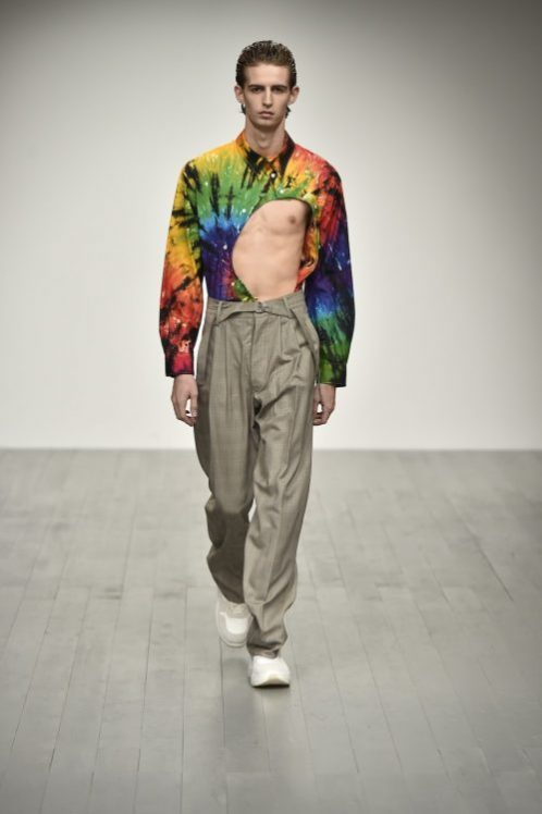 Men wearing rave outfit in runway