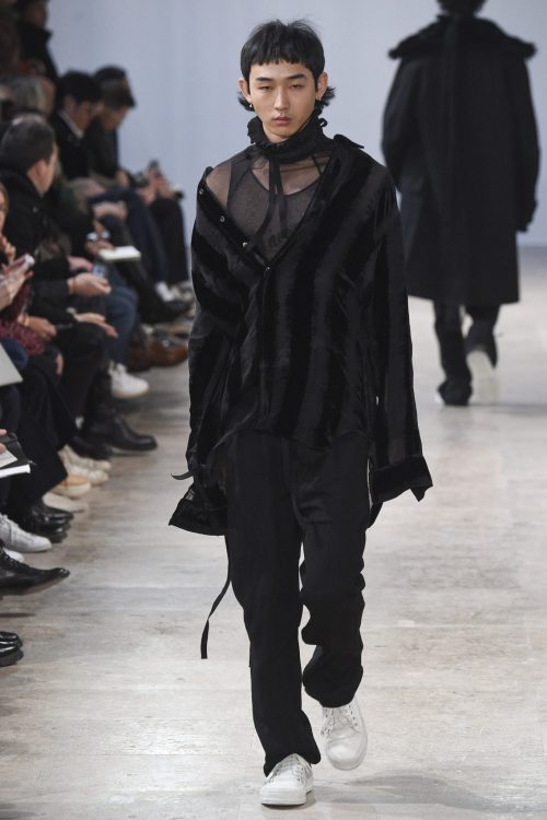 Men wearing Ann Demeulemeester rave outfit in runway