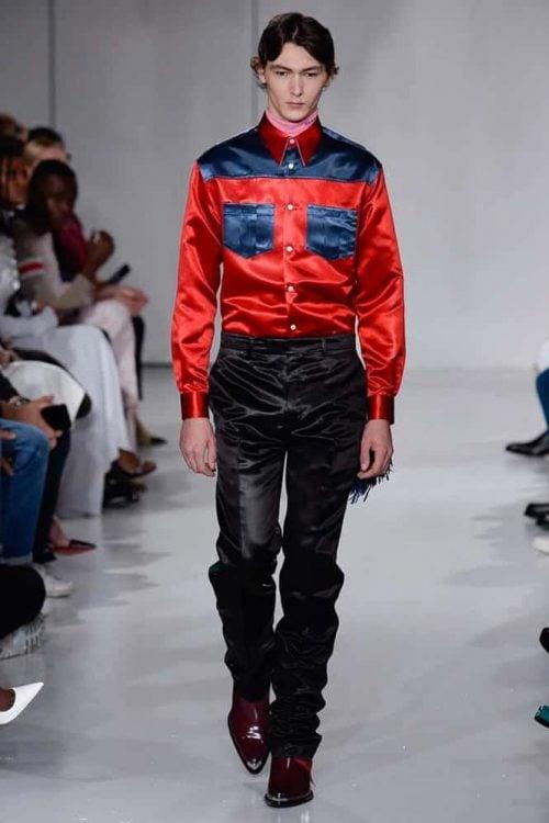 Men's wearing Silk Shirt from Calvin Klein at a fashion show