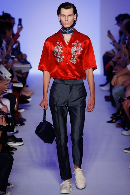 Men wearing a red Silk Shirt from Louis Vuitton at a fashion show