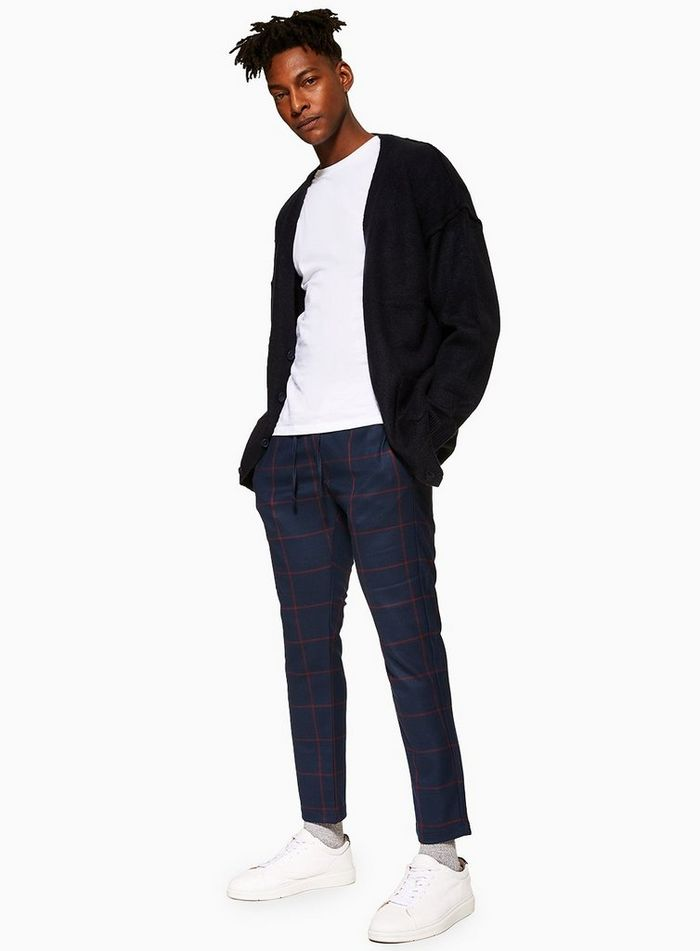 Navy Windowpane Check Joggers outfits men