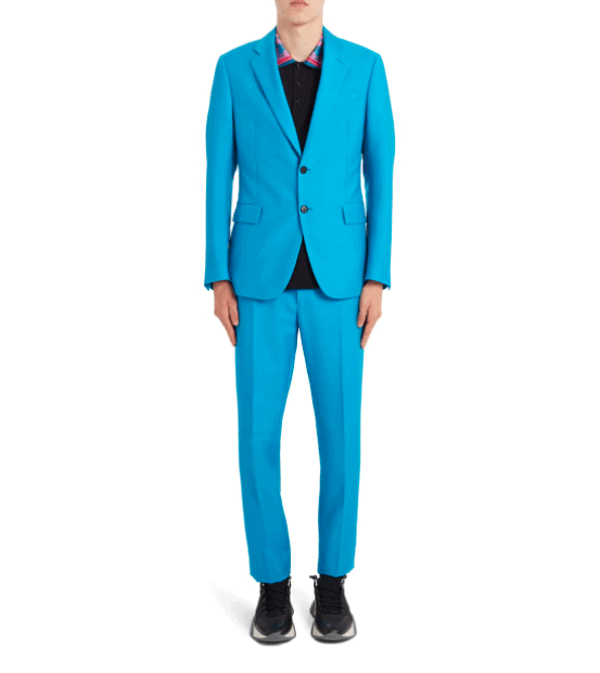 Turquoise suit by Versace