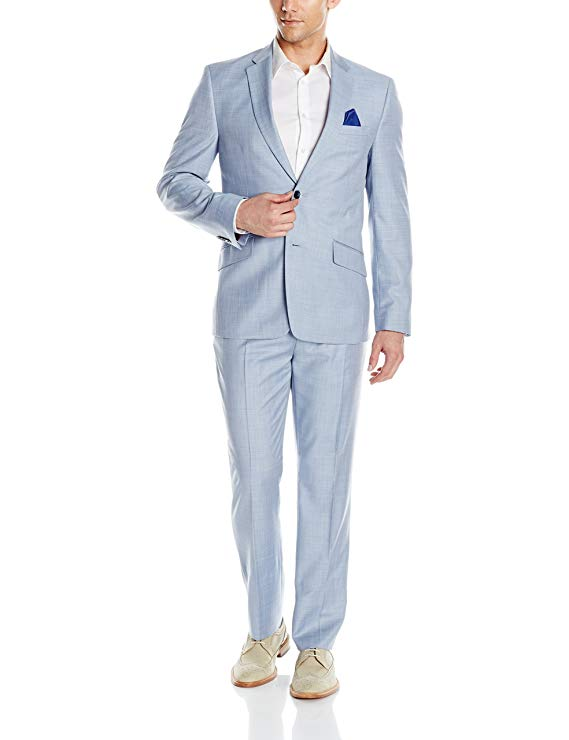 Man wearing powder blue suit