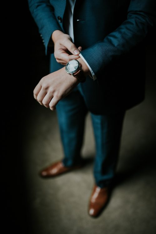 Man on Blue Suit with Brown Shoes