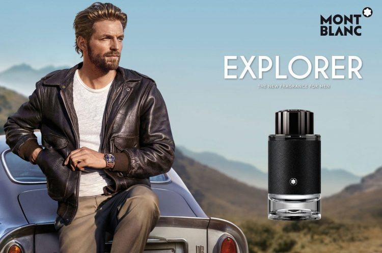Montblanc Explorer EDP next to a men staying behind a car, represents the idea of the perfume