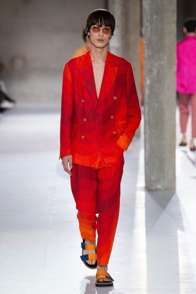 Red suit fashion show