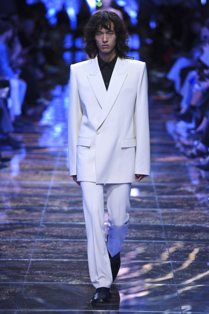 white suit fashion show