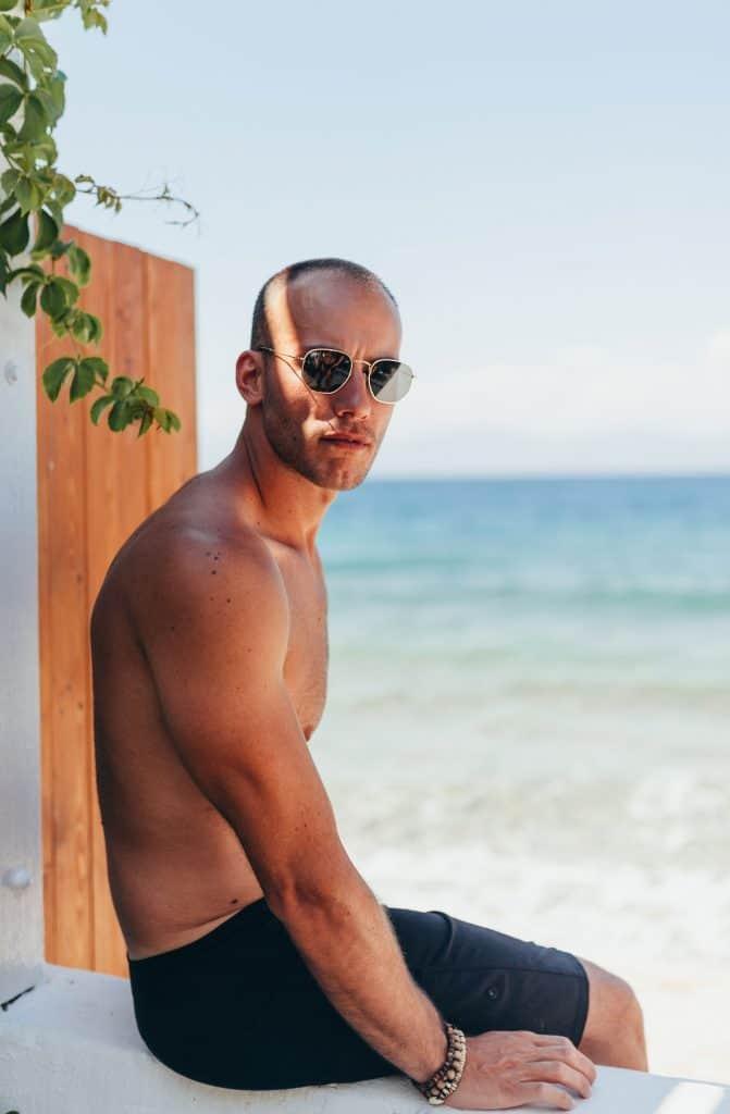 Clean shaven man in beach