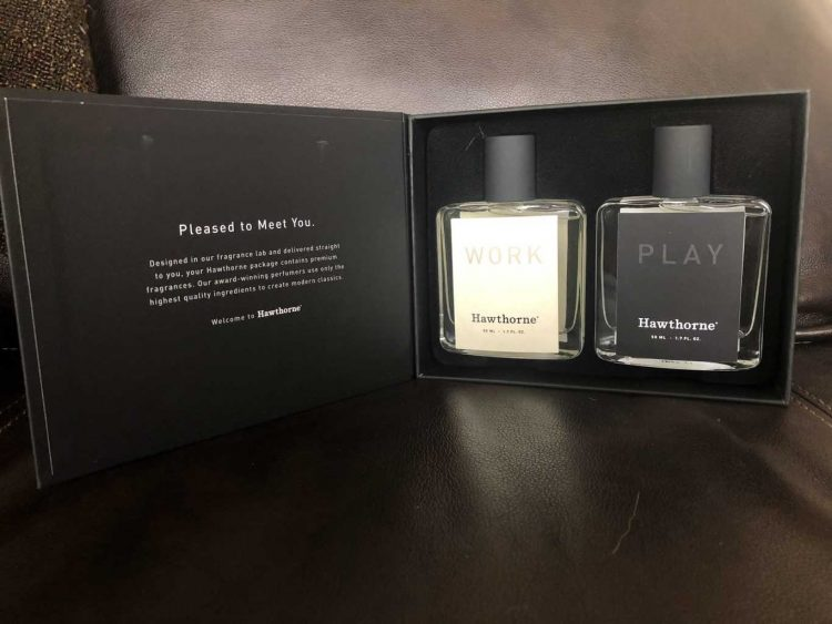 Hawthorne cologne bottle for work and one for play