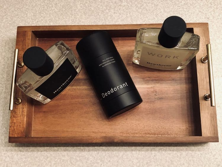 Hawthorne cologne bottle for work and one for play plus a Hawthorne deodorant