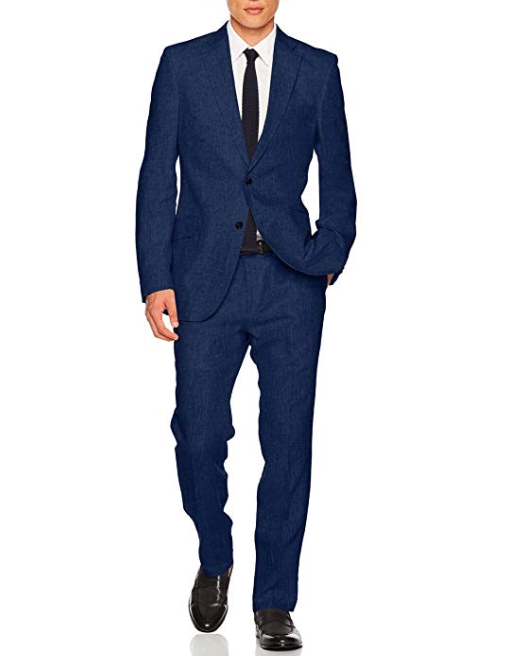 Man wearing Blue suit with black shoes
