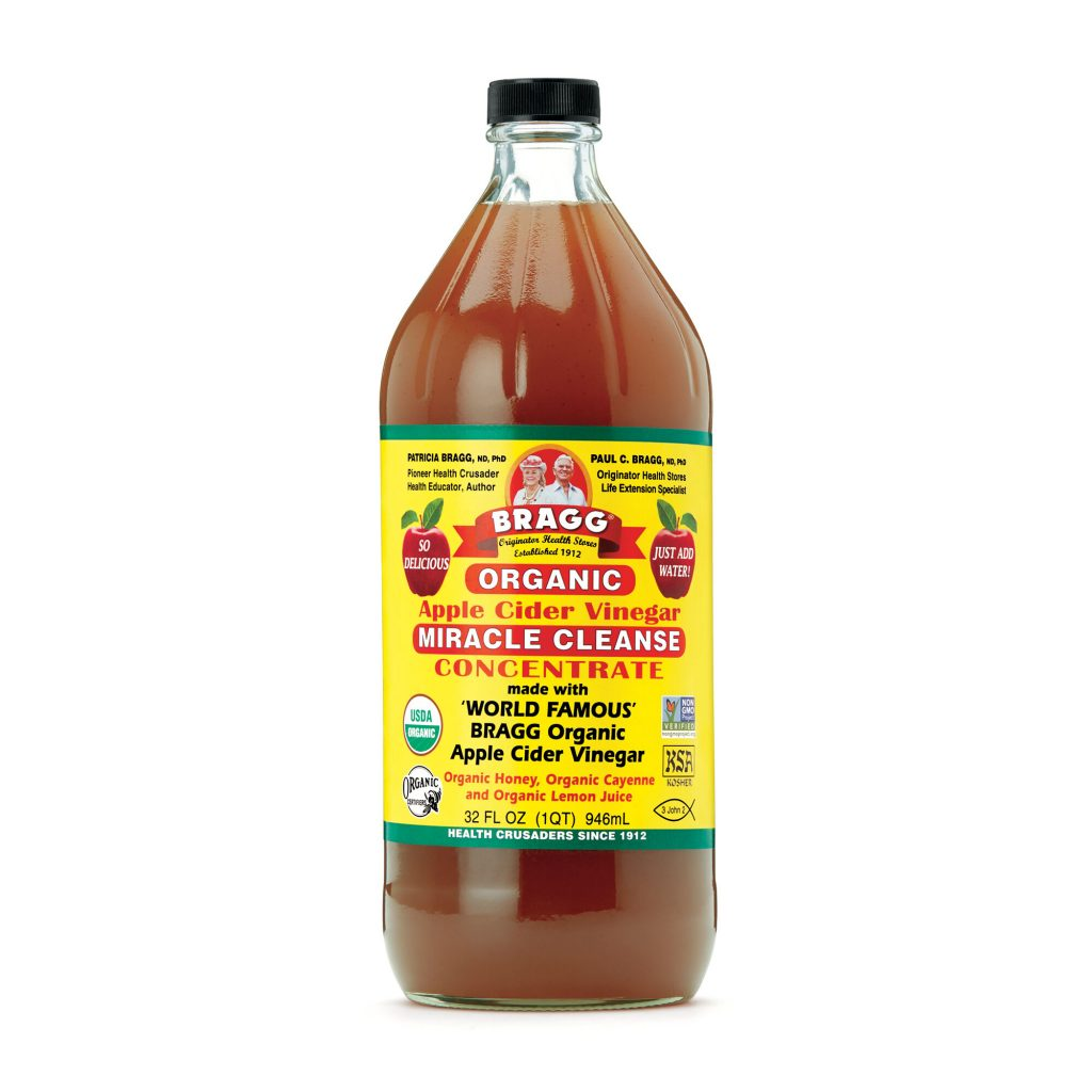 Organic apple cider vinegar in the bottle