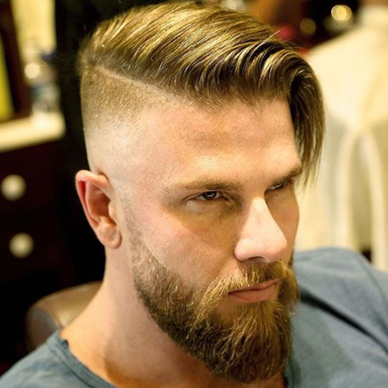 Side part hairstyle but long on top
