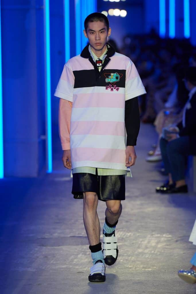 Man wearing a preppy style Prada shirt for SS20