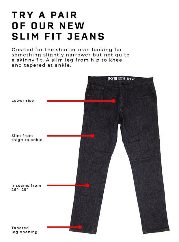 Photo of a slim fit jeans with size description