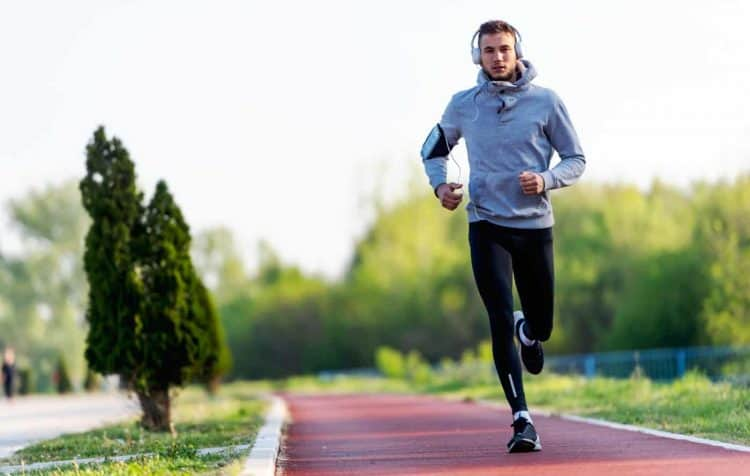 man running on a track
