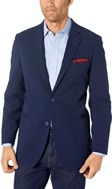 Ben Sherman Solid Navy Seersucker Sport Coat