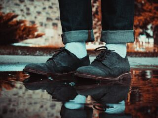 man wearing suede shoes