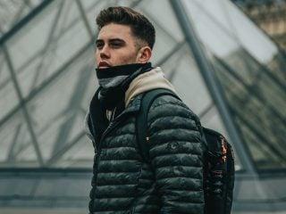 man in puffer jacket