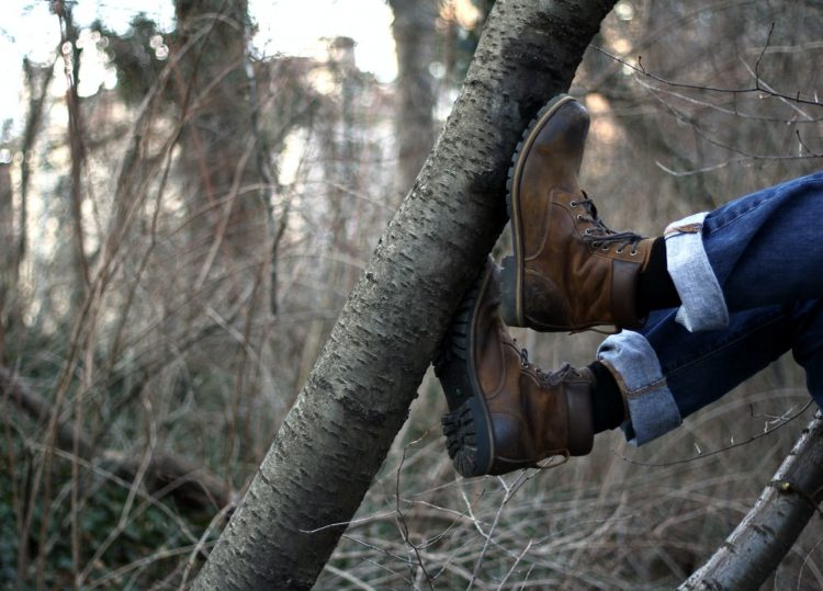 A photo of a boots stepping on a branch