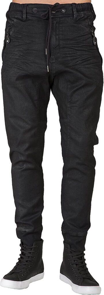Level-7-Mens-Premium-Knit-Denim-Jogger-Jeans-Drop-Crotch-Black-Coated-Whisker
