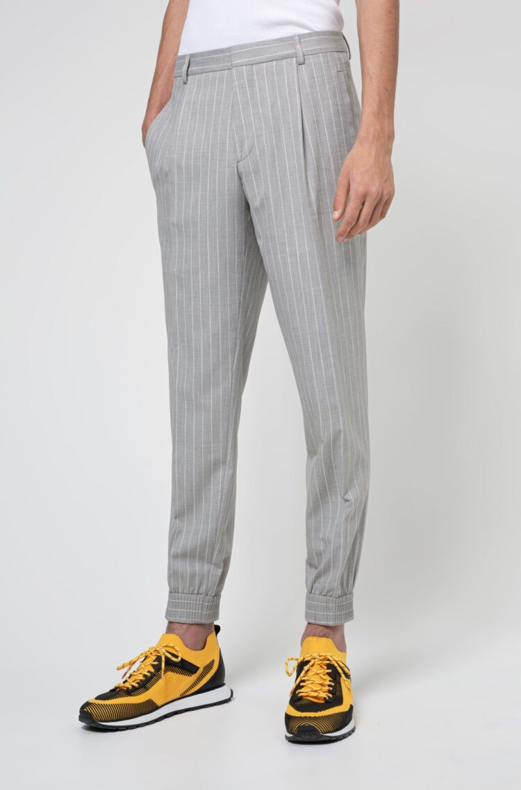 Men's Best Pants - Hugo Boss Pinstripe extra-slim-fit pants in stretch twill