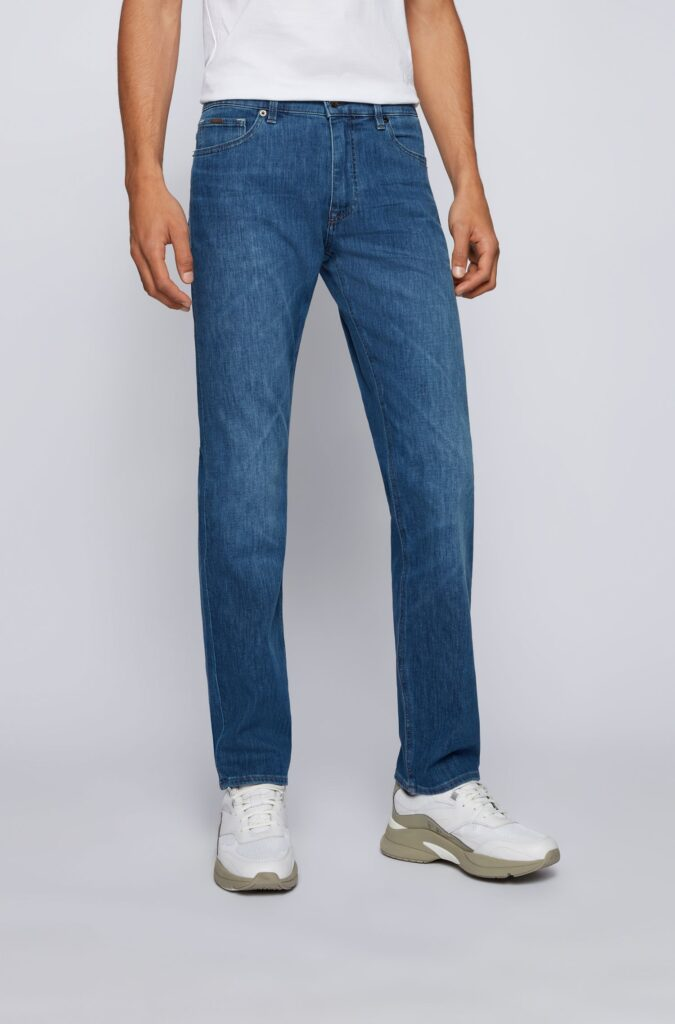 Men's Best Pants - Hugo Boss Regular-fit jeans in lightweight Italian stretch denim