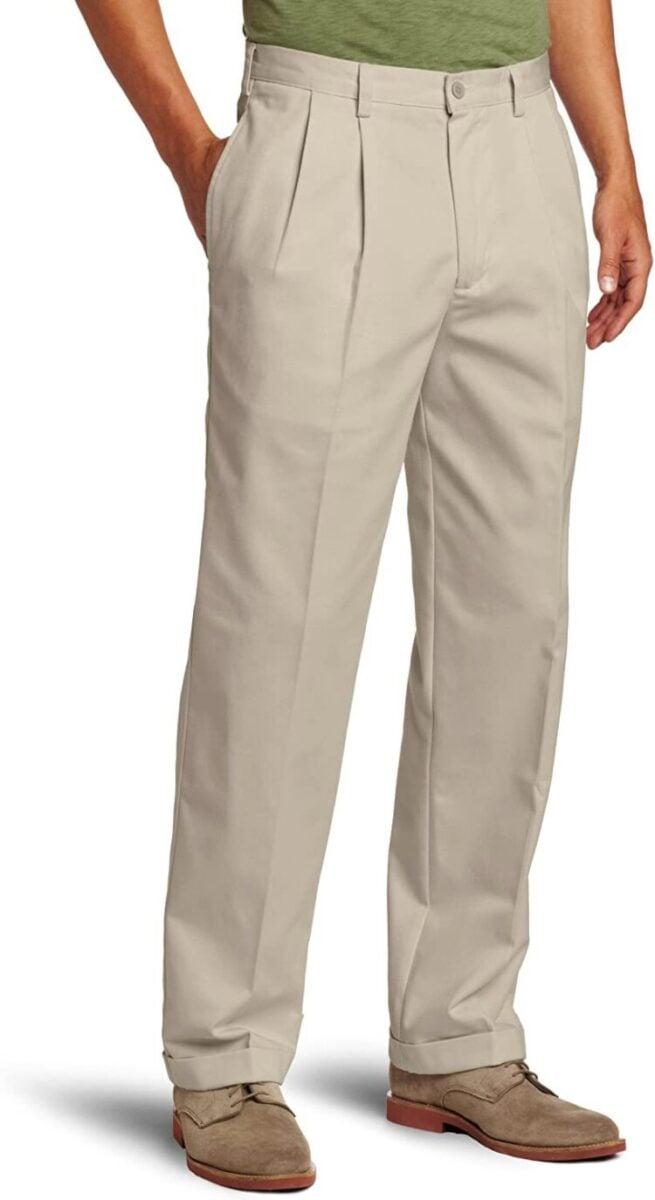 Men's Best Pants - IZOD Men's American Chino Double Pleated Pant