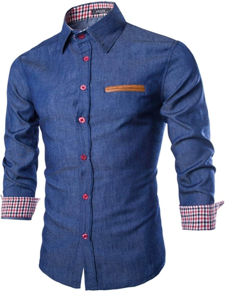 Best Tight-Fitting Elonglin Men's Chic Shirt Denim Cotton Long Sleeves