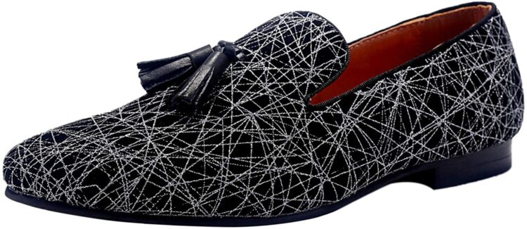 ELANROMAN Men's Loafers Tassels Penny Slip-On Luxury Wedding Shoes