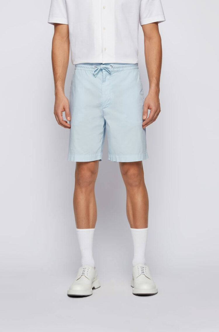 Hugo Boss Relaxed-Fit Shorts in Stretch-Cotton Poplin