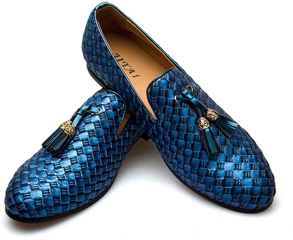 Men's Vintage Velvet Embroidery Noble Loafer Shoes Slip-on Loafer Smoking Slipper Tassel Loafer