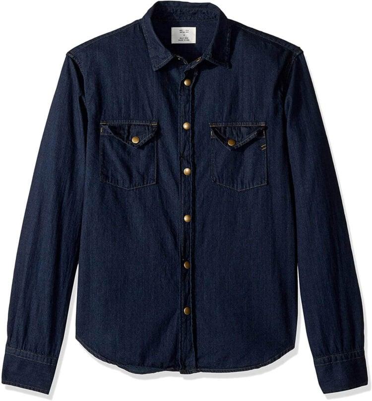 Billy Reid Men's Denim Brass Snap Work Shirt