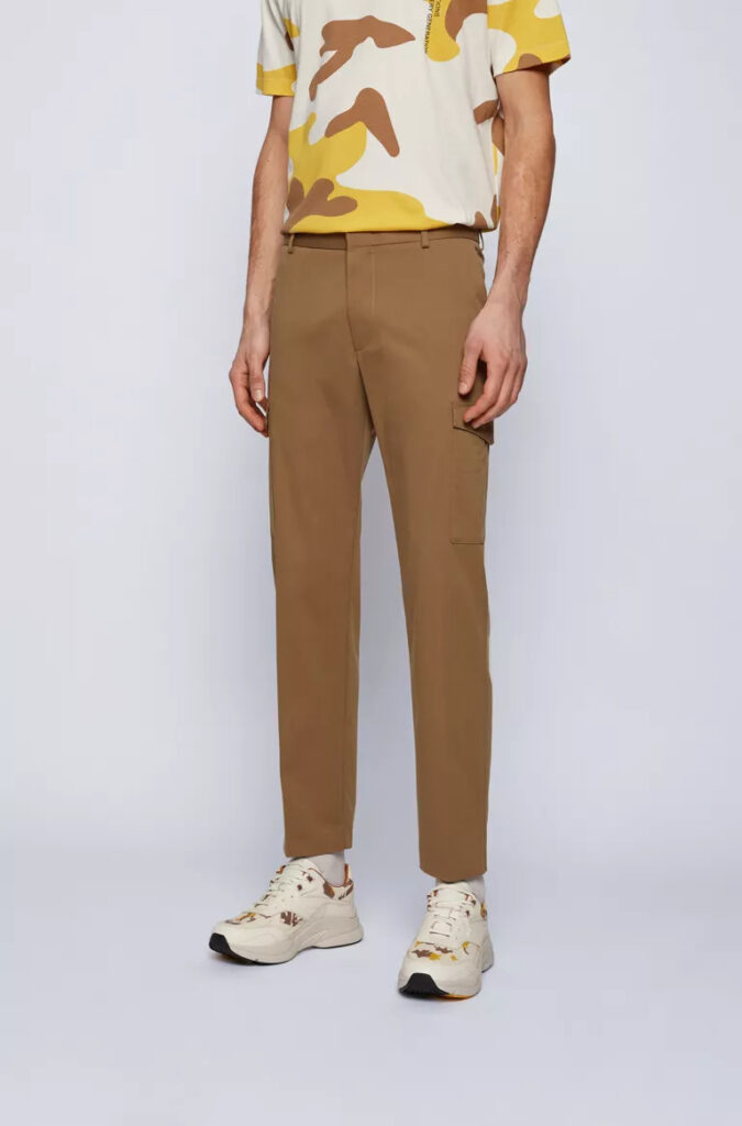 Slim-fit cargo pants in stretch-cotton satin