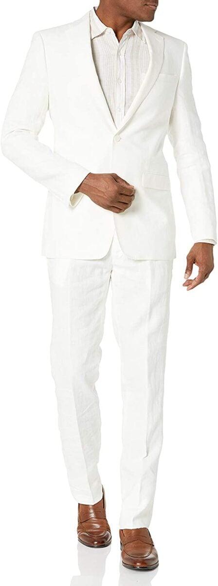 Calvin Klein Men's White Slim Fit Linen Suit