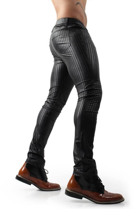 Leather Pants Differio BLACK FAUX LEATHER PANTS WITH STRIPES