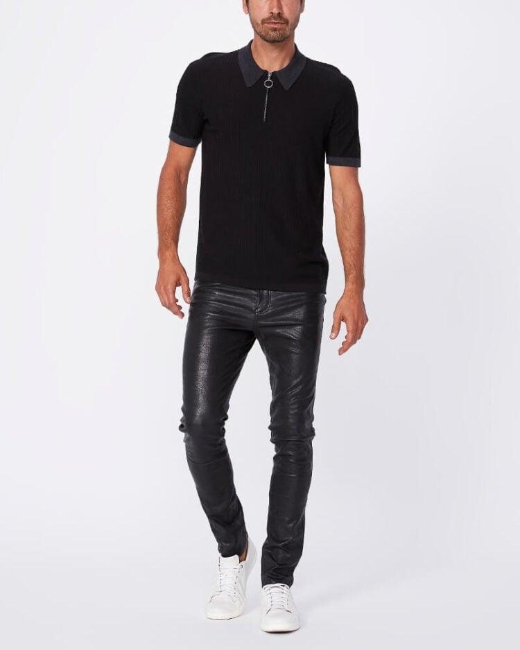 mens Leather Pants Ralph Lauren Slim Fit Embossed Leather Pant (2)