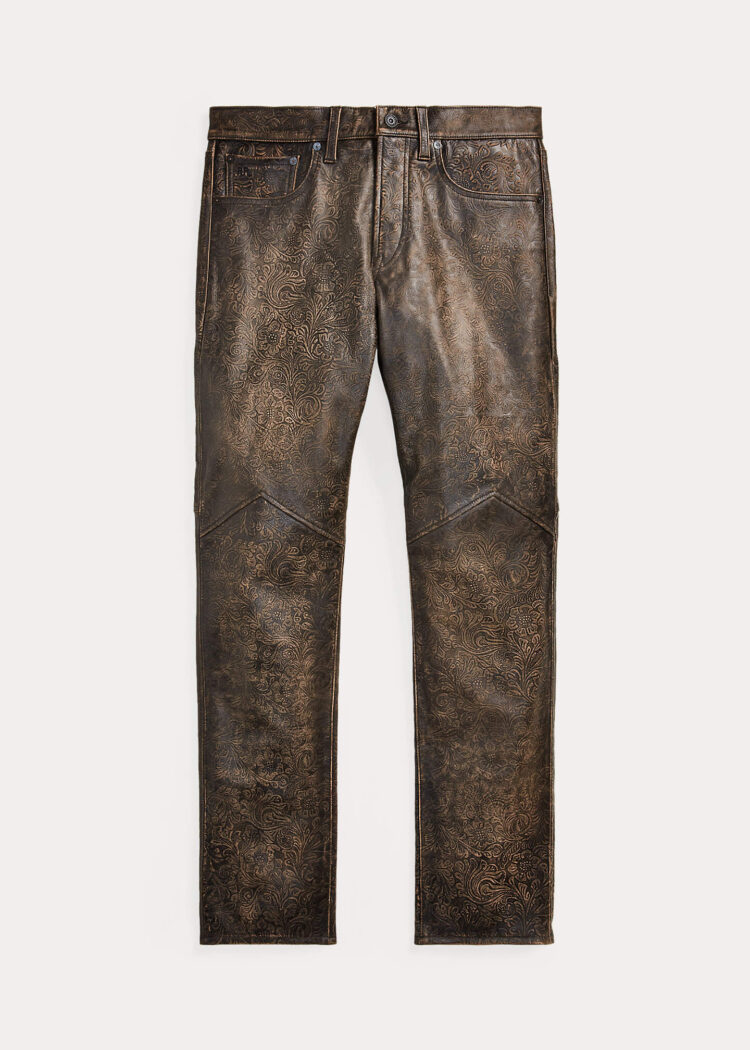 Leather Pants Ralph Lauren Slim Fit Embossed Leather Pant