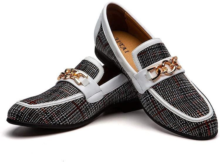 JITAI Men's Leather Shoes Pattern Printing Men's Dress Loafer Shoes