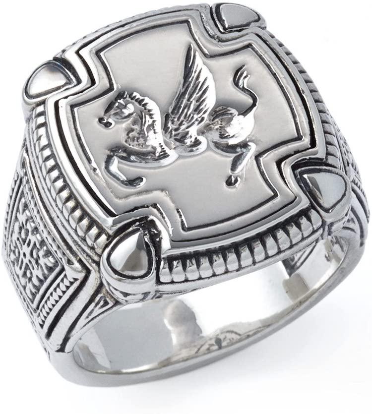 Konstantino Men's Sterling Square Silver Pegasus Ring