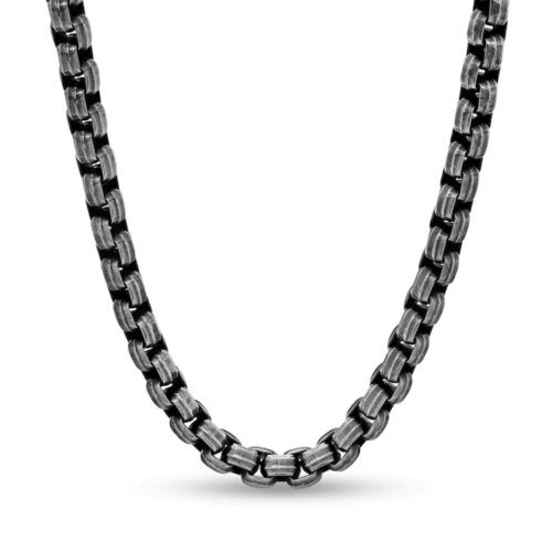 Zales Men's 6.0mm Antique-Finish Rolo Chain Necklace in Stainless Steel