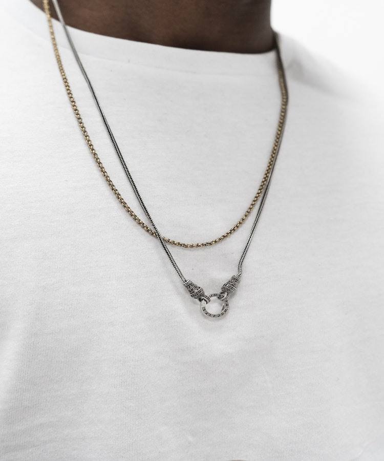 man flaunting chain necklace