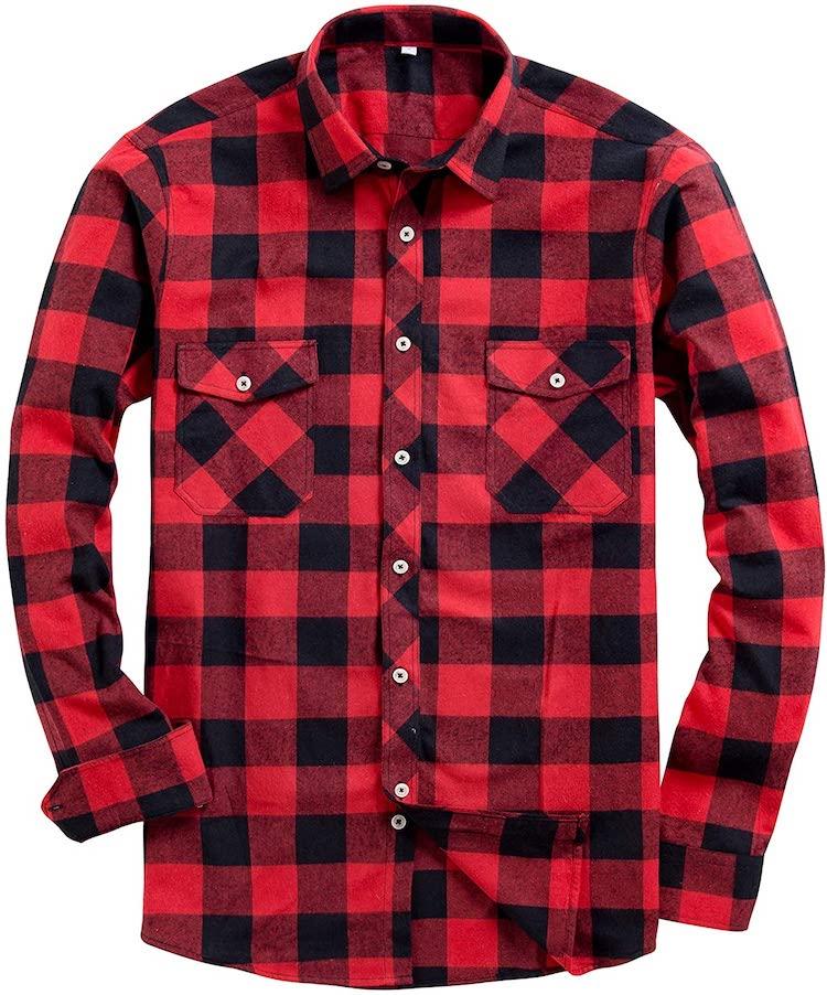 Alimens & Gentle Men's Button Down Regular Fit Long Sleeve Plaid Flannel Casual Shirt