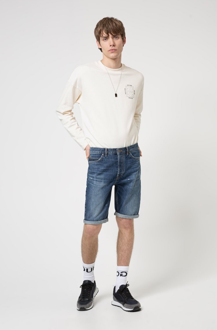 Hugo Boss Blue Tapered-Fit Denim Shorts with Manifesto Logo Patch