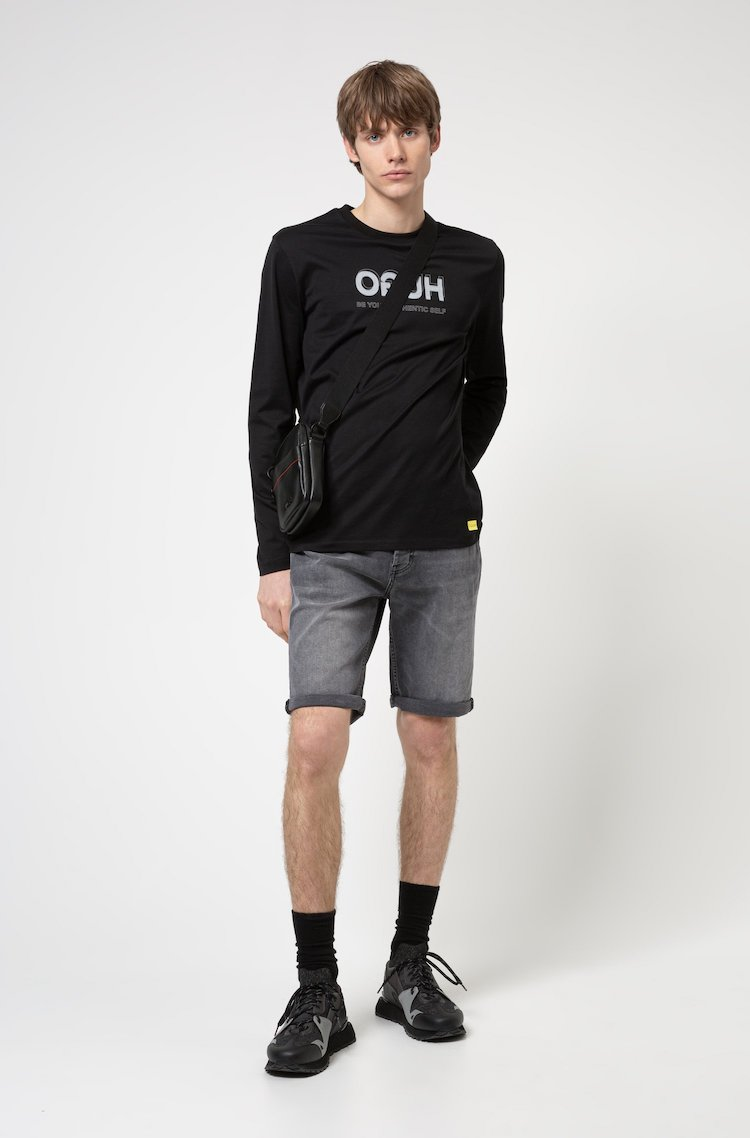Hugo Boss Tapered-fit shorts in gray stretch denim