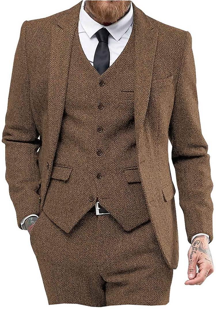 Mens Tweed Herringbone Wedding Suit