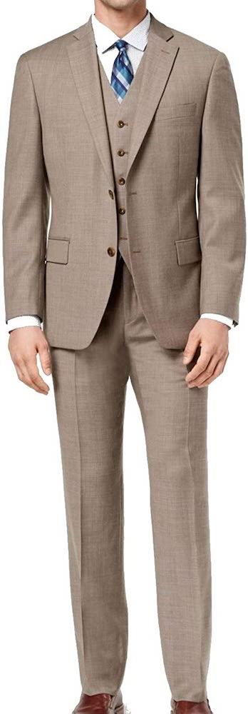 Michael Kors Mens 3 Piece Birdseye Two Button Suit brown
